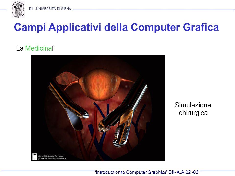 Introduction to Computer Graphics DII- A.A.02 -03 Campi Applicativi della Computer Grafica La Medicina! Simulazione chirurgica