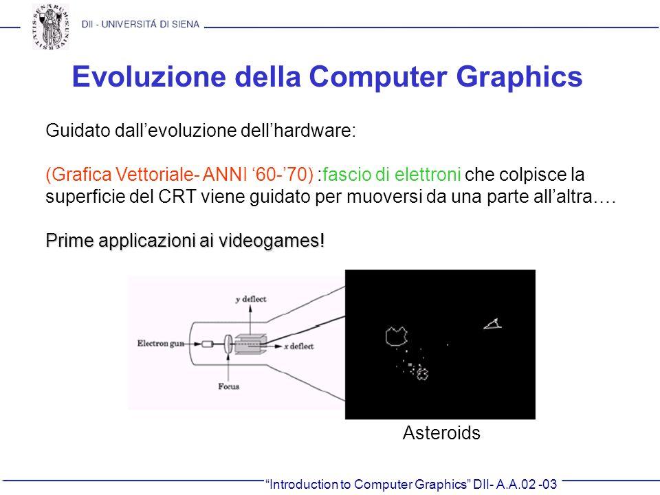 Introduction to Computer Graphics DII- A.A.02 -03 Evoluzione della Computer Graphics Guidato dallevoluzione dellhardware: (Grafica Vettoriale- ANNI 60