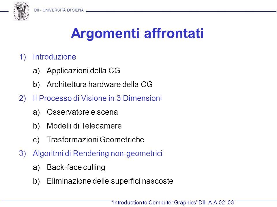 Introduction to Computer Graphics DII- A.A.02 -03 Argomenti affrontati 1)Introduzione a)Applicazioni della CG b)Architettura hardware della CG 2)Il Pr