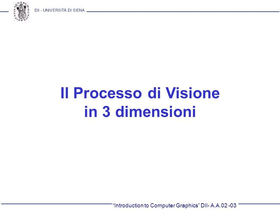 Introduction to Computer Graphics DII- A.A.02 -03 Il Processo di Visione in 3 dimensioni
