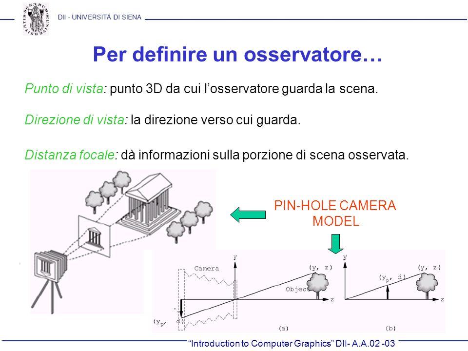 Introduction to Computer Graphics DII- A.A.02 -03 Per definire un osservatore… Punto di vista: punto 3D da cui losservatore guarda la scena. Direzione