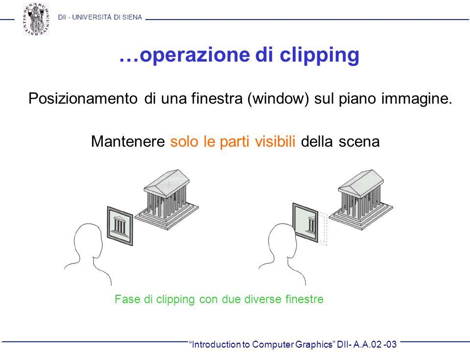Introduction to Computer Graphics DII- A.A.02 -03 …operazione di clipping Posizionamento di una finestra (window) sul piano immagine. Mantenere solo l