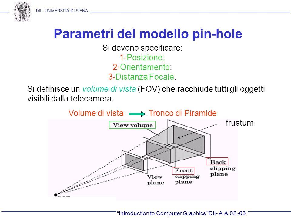 Introduction to Computer Graphics DII- A.A.02 -03 Parametri del modello pin-hole Si devono specificare: 1-Posizione; 2-Orientamento; 3-Distanza Focale