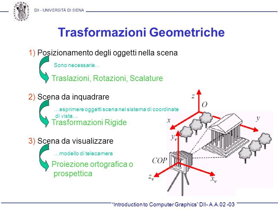 Introduction to Computer Graphics DII- A.A.02 -03 Trasformazioni Geometriche 1) Posizionamento degli oggetti nella scena Traslazioni, Rotazioni, Scala