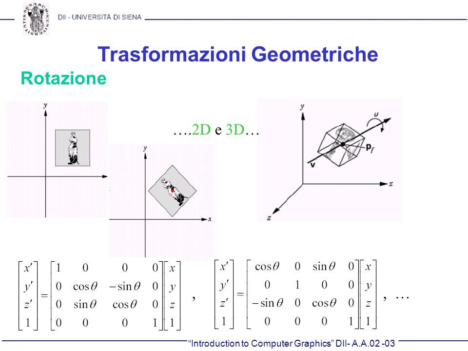 Introduction to Computer Graphics DII- A.A.02 -03 Trasformazioni Geometriche Rotazione ….2D e 3D…,, …