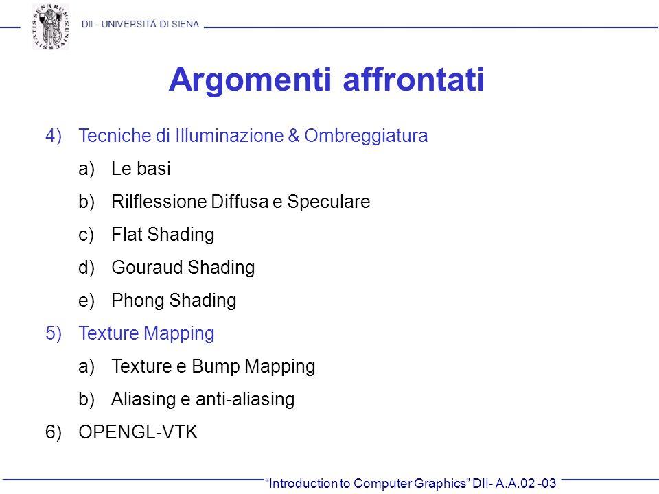 Introduction to Computer Graphics DII- A.A.02 -03 Argomenti affrontati 4)Tecniche di Illuminazione & Ombreggiatura a)Le basi b)Rilflessione Diffusa e