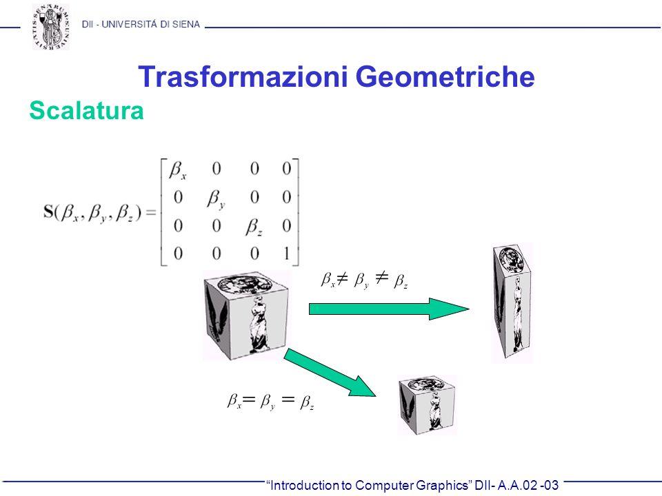 Introduction to Computer Graphics DII- A.A.02 -03 Trasformazioni Geometriche Scalatura