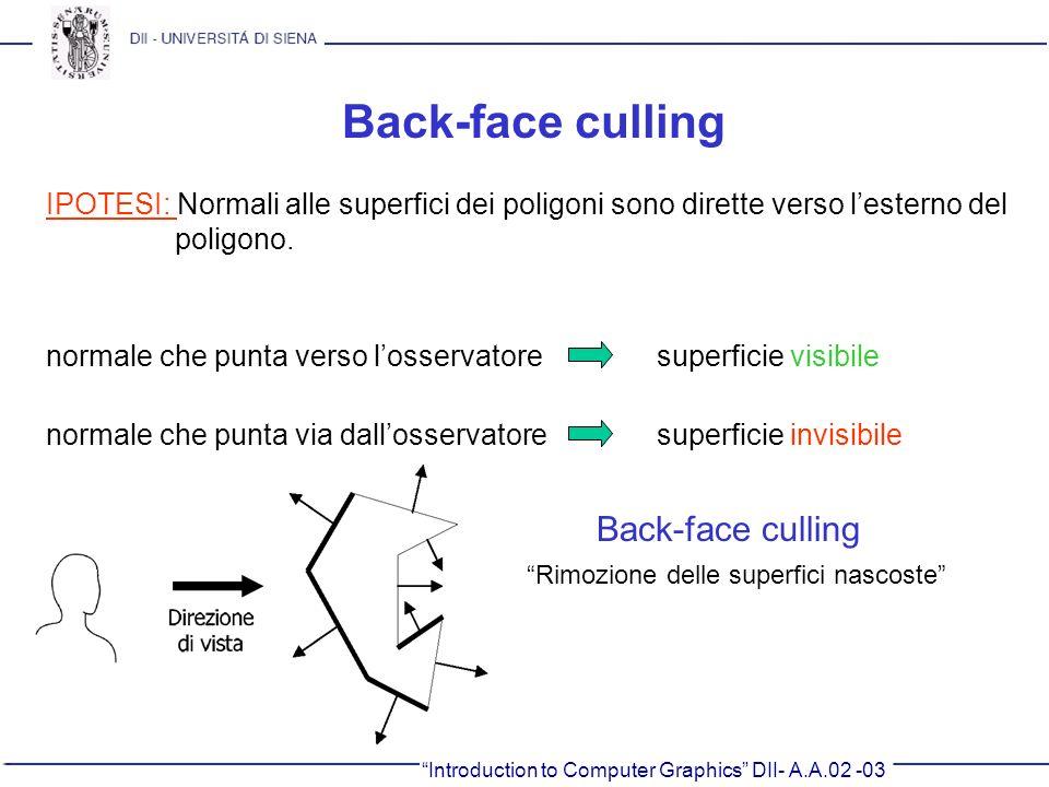 Introduction to Computer Graphics DII- A.A.02 -03 Back-face culling IPOTESI: Normali alle superfici dei poligoni sono dirette verso lesterno del polig