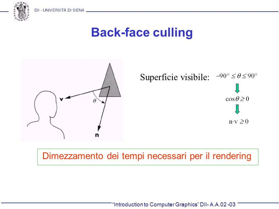 Introduction to Computer Graphics DII- A.A.02 -03 Back-face culling Superficie visibile: Dimezzamento dei tempi necessari per il rendering
