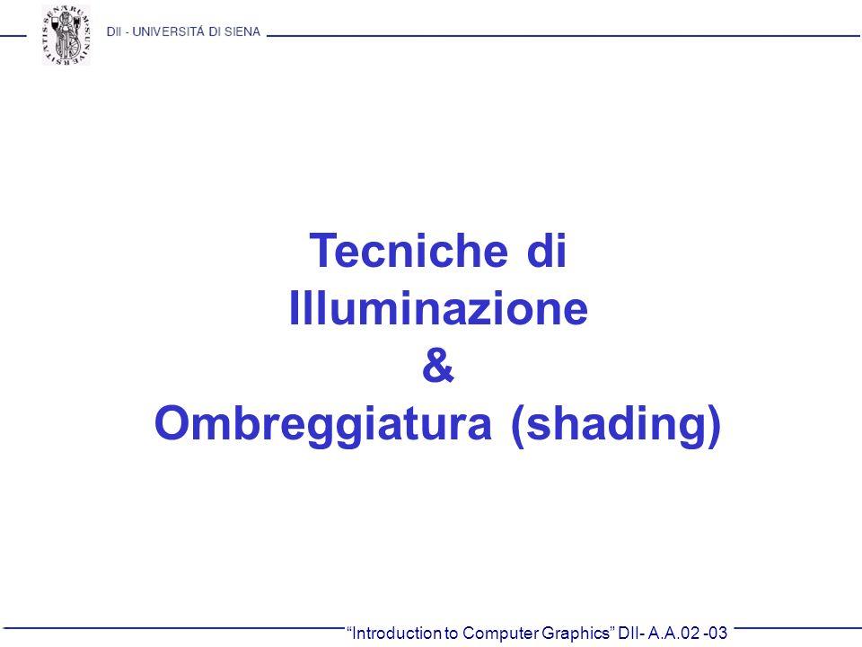 Introduction to Computer Graphics DII- A.A.02 -03 Tecniche di Illuminazione & Ombreggiatura (shading)
