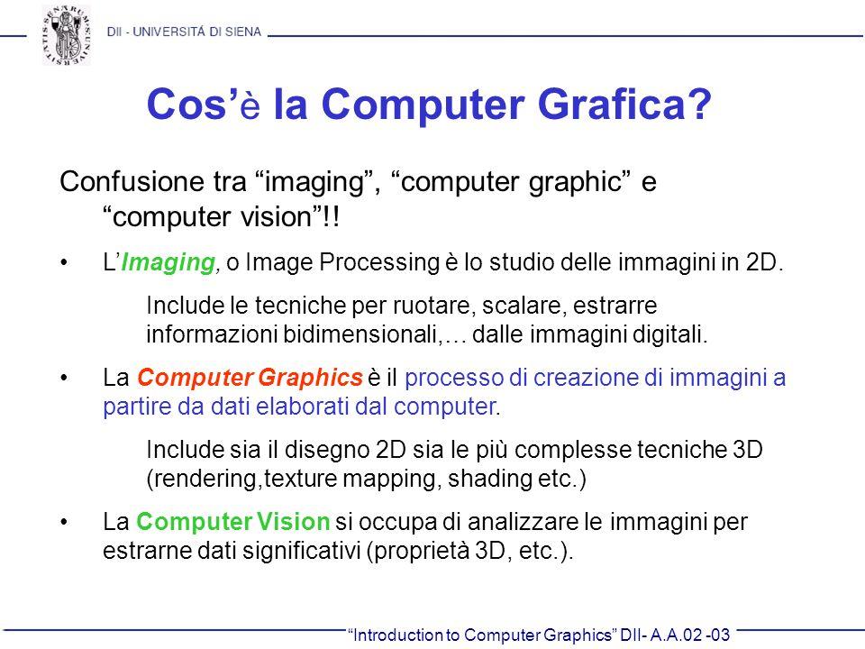 Introduction to Computer Graphics DII- A.A.02 -03 Cos è la Computer Grafica? Confusione tra imaging, computer graphic e computer vision!! LImaging, o