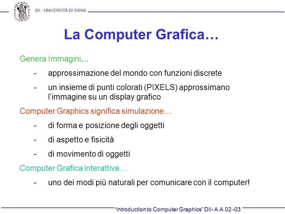 Introduction to Computer Graphics DII- A.A.02 -03 La Computer Grafica… Genera Immagini… -approssimazione del mondo con funzioni discrete -un insieme d