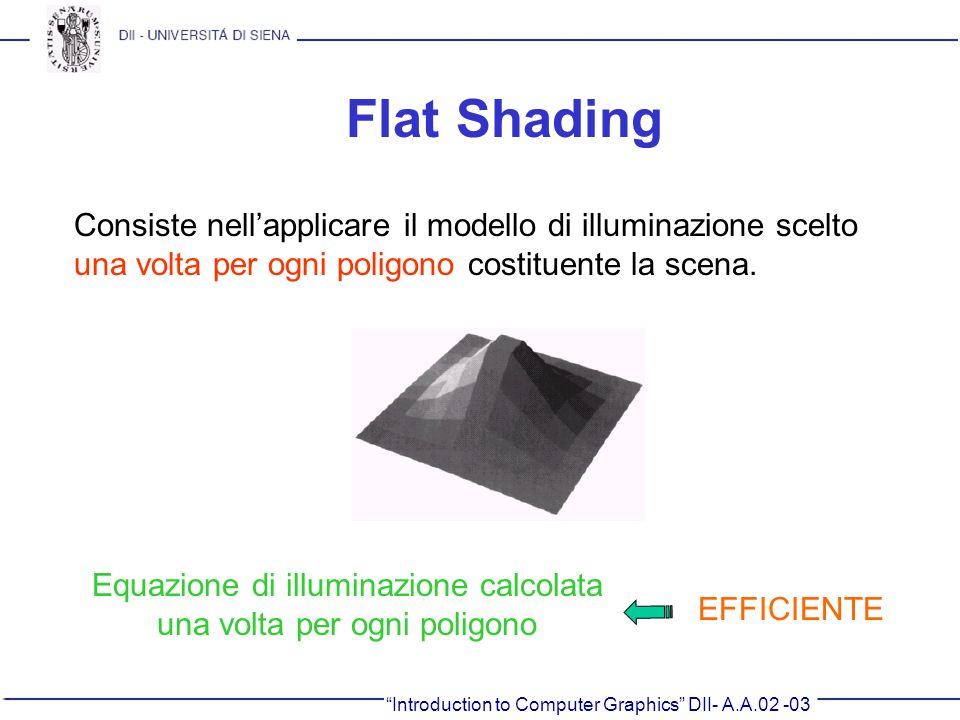 Introduction to Computer Graphics DII- A.A.02 -03 Flat Shading Consiste nellapplicare il modello di illuminazione scelto una volta per ogni poligono c