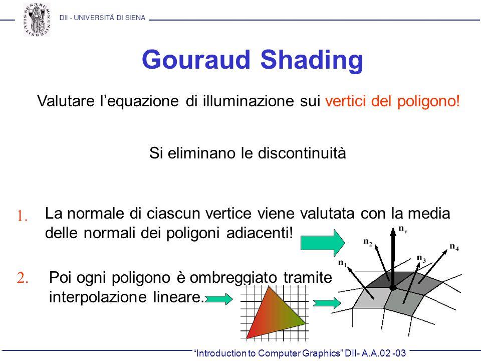 Introduction to Computer Graphics DII- A.A.02 -03 Gouraud Shading Valutare lequazione di illuminazione sui vertici del poligono! Si eliminano le disco