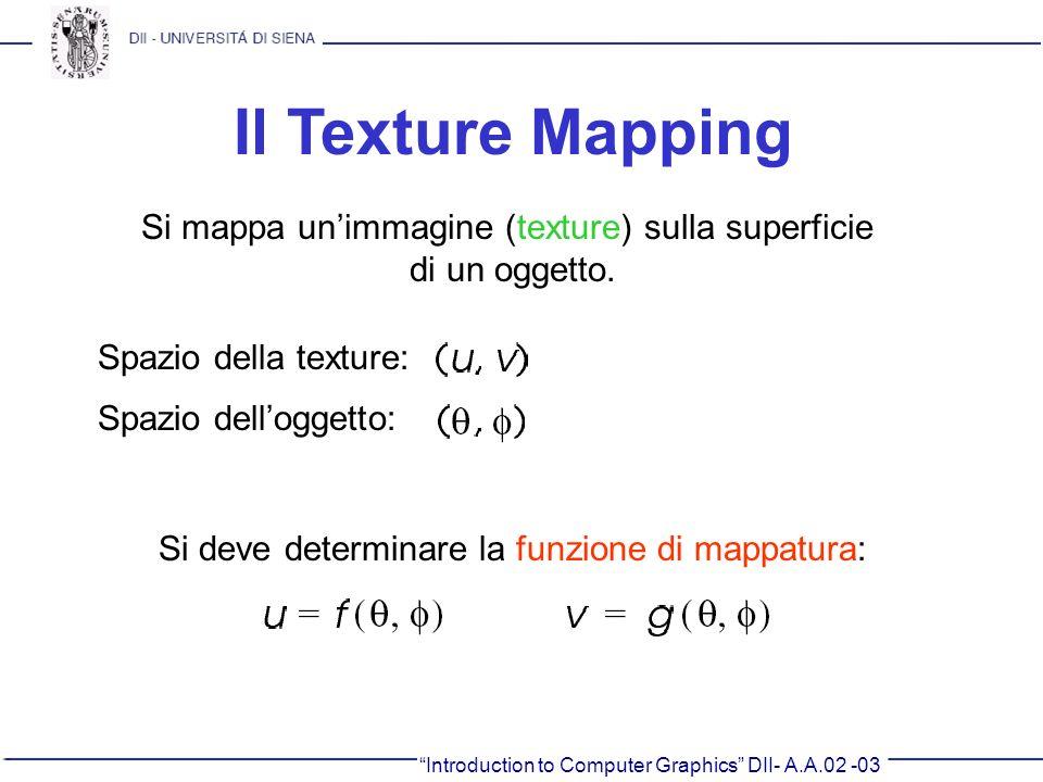 Introduction to Computer Graphics DII- A.A.02 -03 Il Texture Mapping Si mappa unimmagine (texture) sulla superficie di un oggetto. Spazio della textur