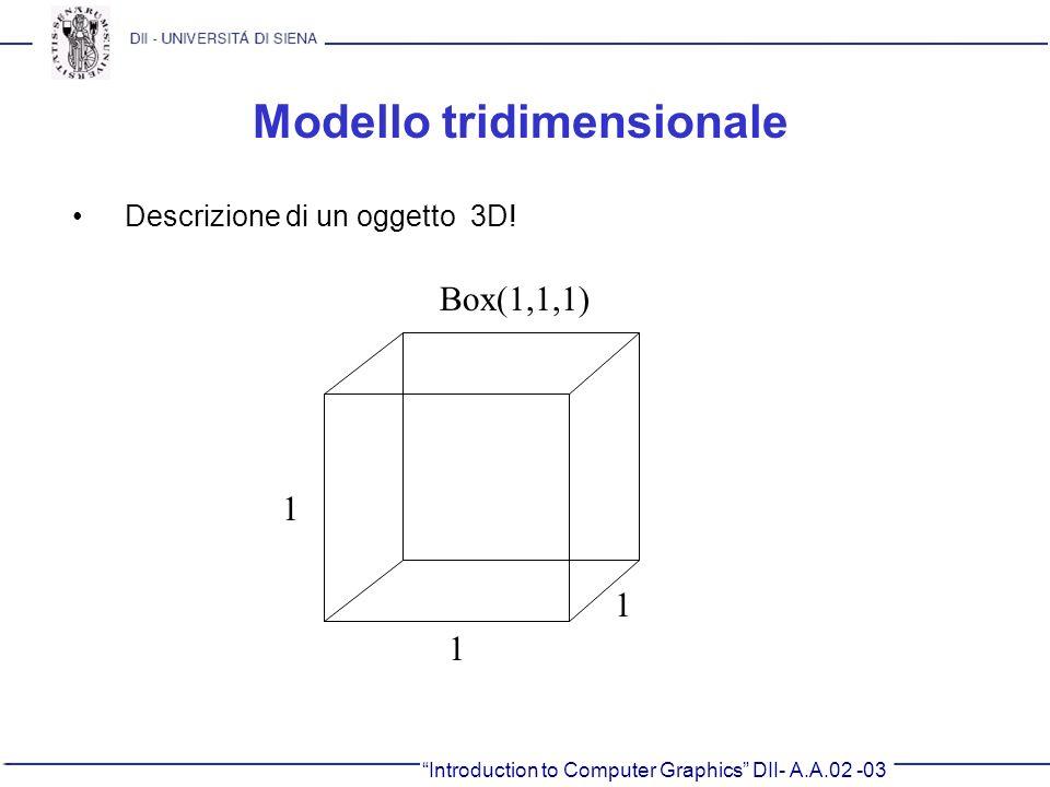 Introduction to Computer Graphics DII- A.A.02 -03 Modello tridimensionale Descrizione di un oggetto 3D! Box(1,1,1) 1 1 1