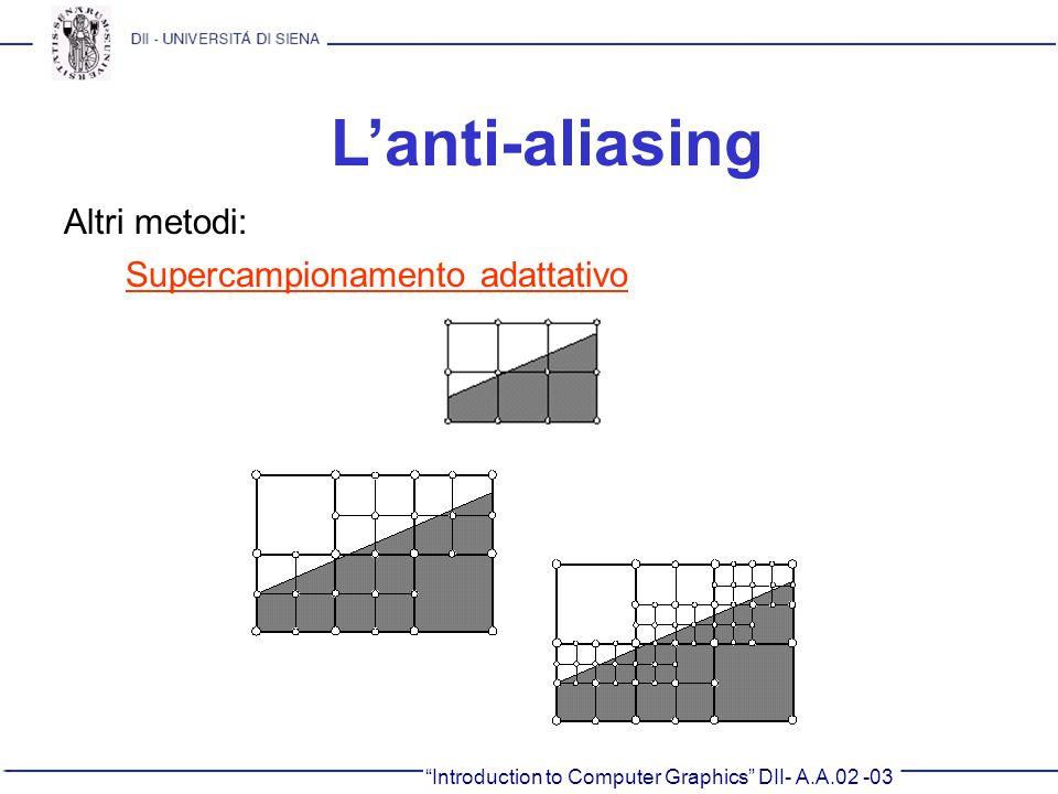 Introduction to Computer Graphics DII- A.A.02 -03 Lanti-aliasing Altri metodi: Supercampionamento adattativo