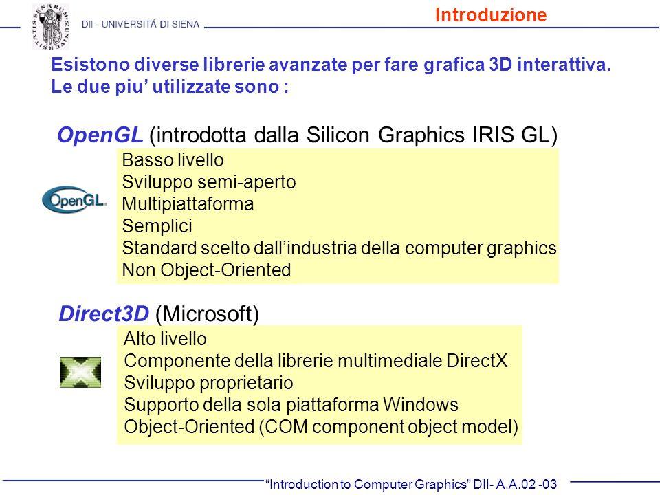 Direct3D (Microsoft) Alto livello Componente della librerie multimediale DirectX Sviluppo proprietario Supporto della sola piattaforma Windows Object-