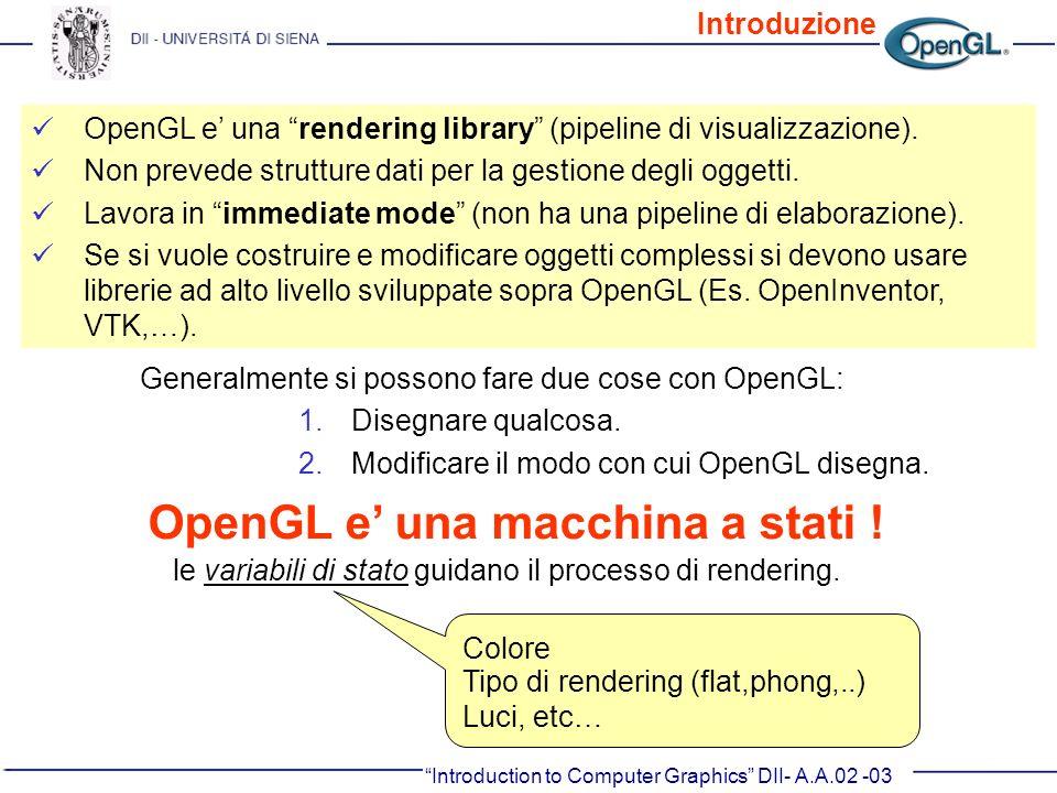 Introduction to Computer Graphics DII- A.A.02 -03 OpenGL e una rendering library (pipeline di visualizzazione). Non prevede strutture dati per la gest