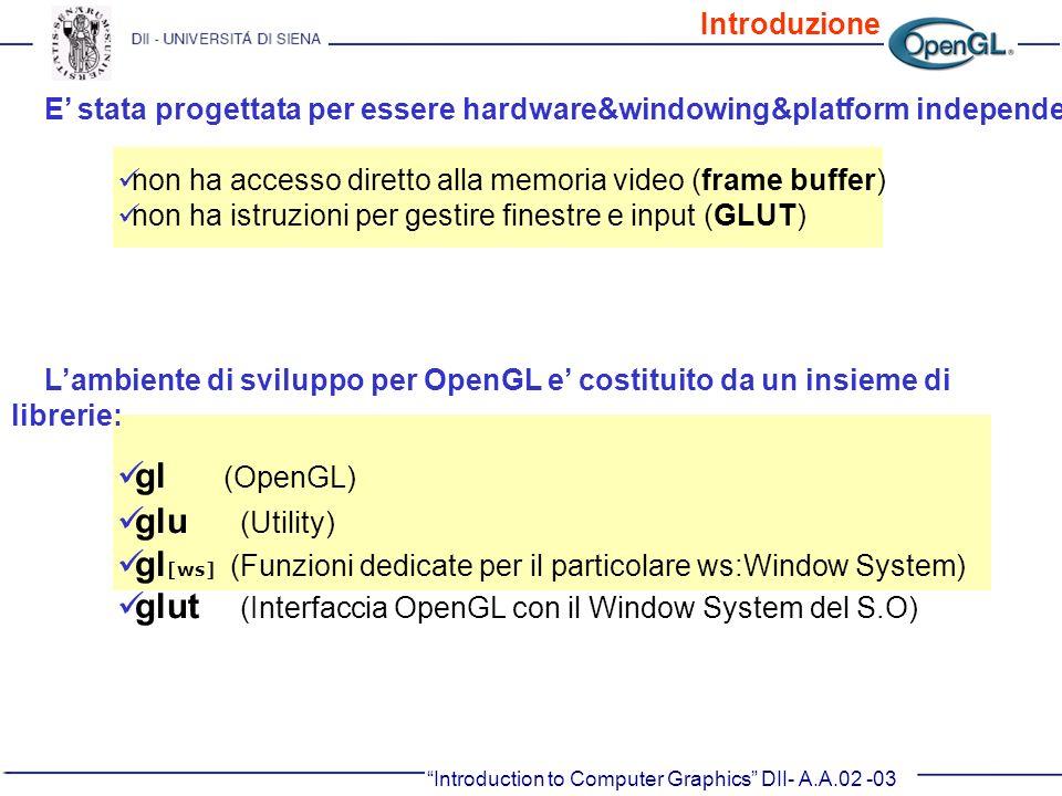 Lambiente di sviluppo per OpenGL e costituito da un insieme di librerie: gl (OpenGL) glu (Utility) gl [ws] (Funzioni dedicate per il particolare ws:Wi