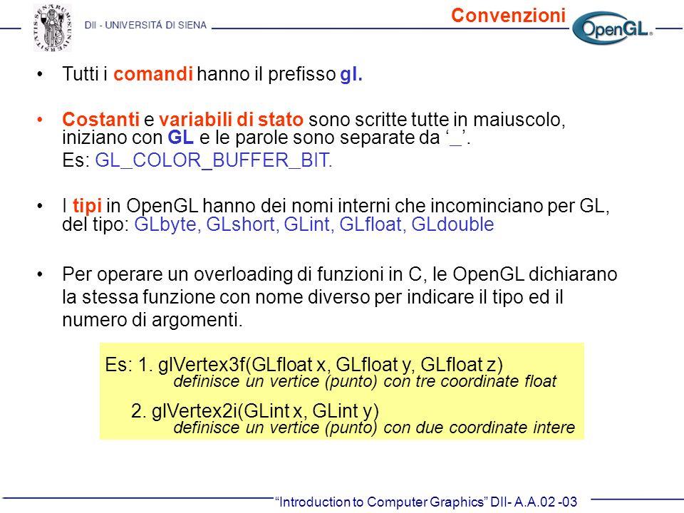 Tutti i comandi hanno il prefisso gl. Costanti e variabili di stato sono scritte tutte in maiuscolo, iniziano con GL e le parole sono separate da _. E