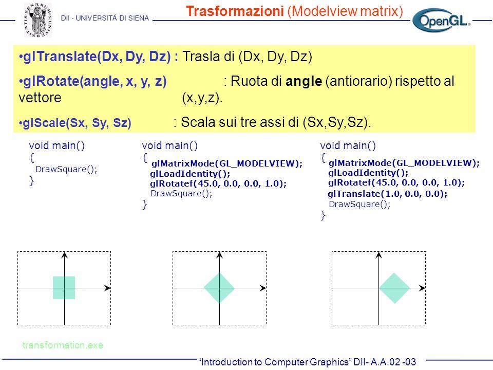 glTranslate(Dx, Dy, Dz) : Trasla di (Dx, Dy, Dz) glRotate(angle, x, y, z) : Ruota di angle (antiorario) rispetto al vettore (x,y,z). glScale(Sx, Sy, S