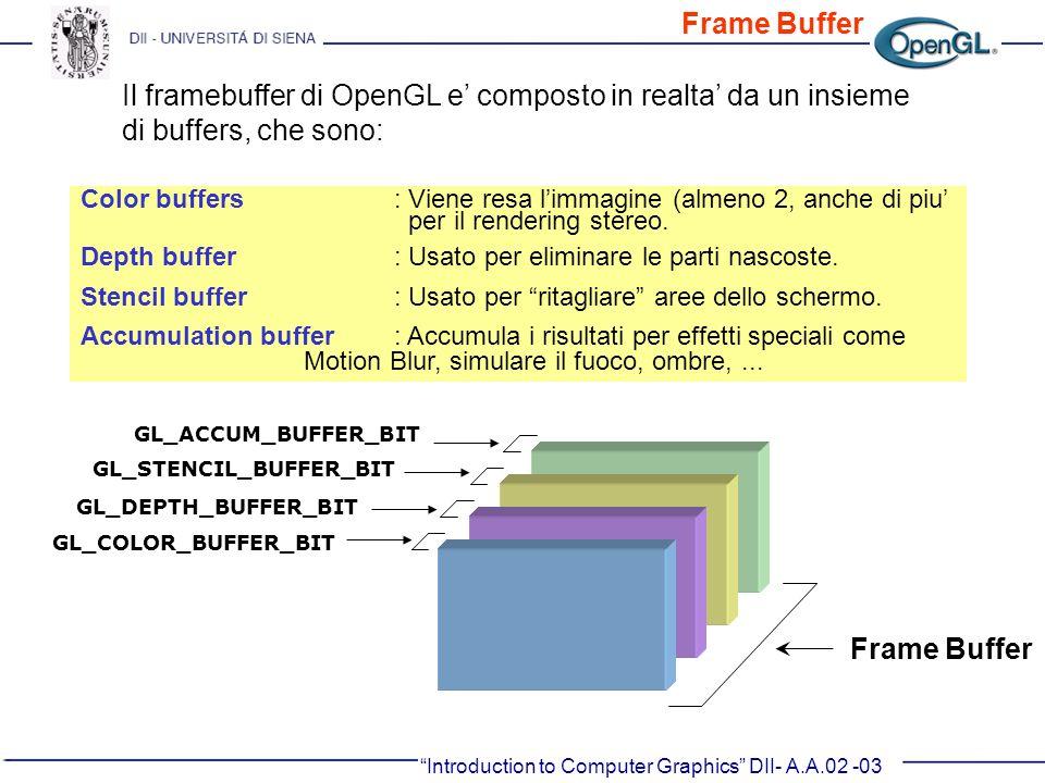 Introduction to Computer Graphics DII- A.A.02 -03 Color buffers : Viene resa limmagine (almeno 2, anche di piu per il rendering stereo. Depth buffer: