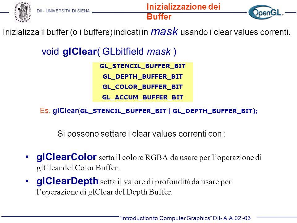 Introduction to Computer Graphics DII- A.A.02 -03 glClearColor setta il colore RGBA da usare per loperazione di glClear del Color Buffer. glClearDepth
