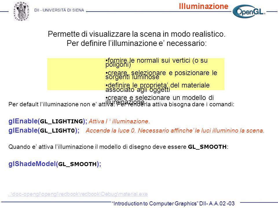 Introduction to Computer Graphics DII- A.A.02 -03 Permette di visualizzare la scena in modo realistico. Per definire lilluminazione e necessario: forn