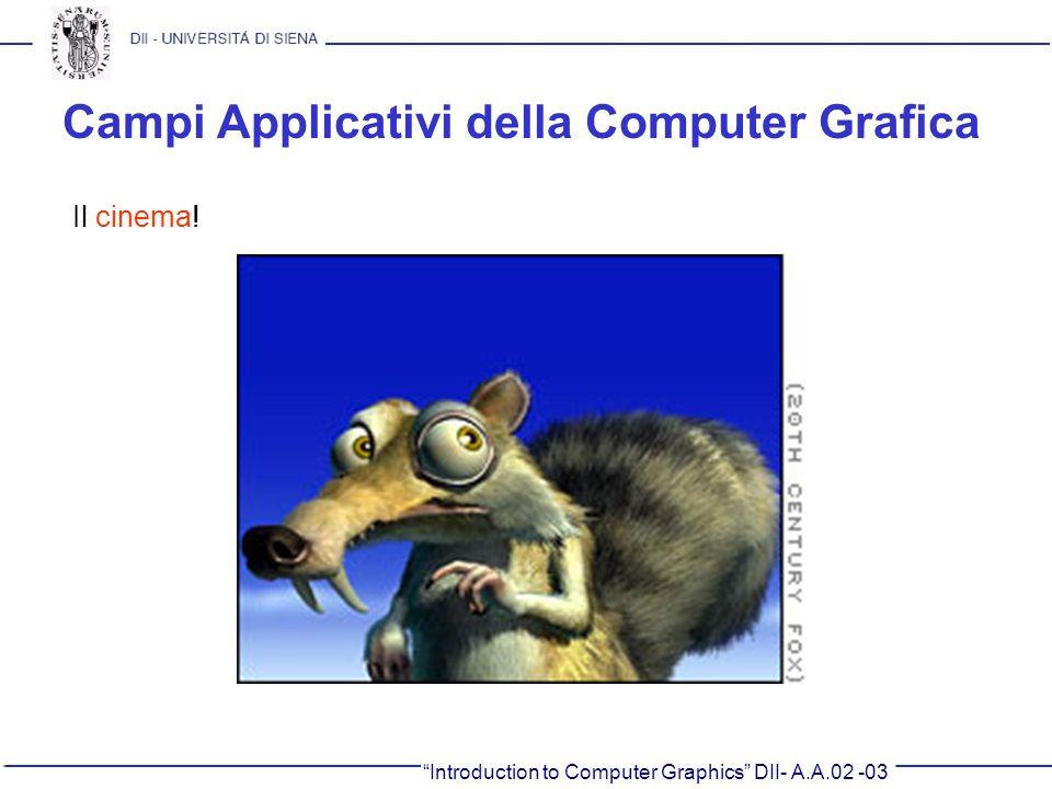 Introduction to Computer Graphics DII- A.A.02 -03 Campi Applicativi della Computer Grafica Il cinema!