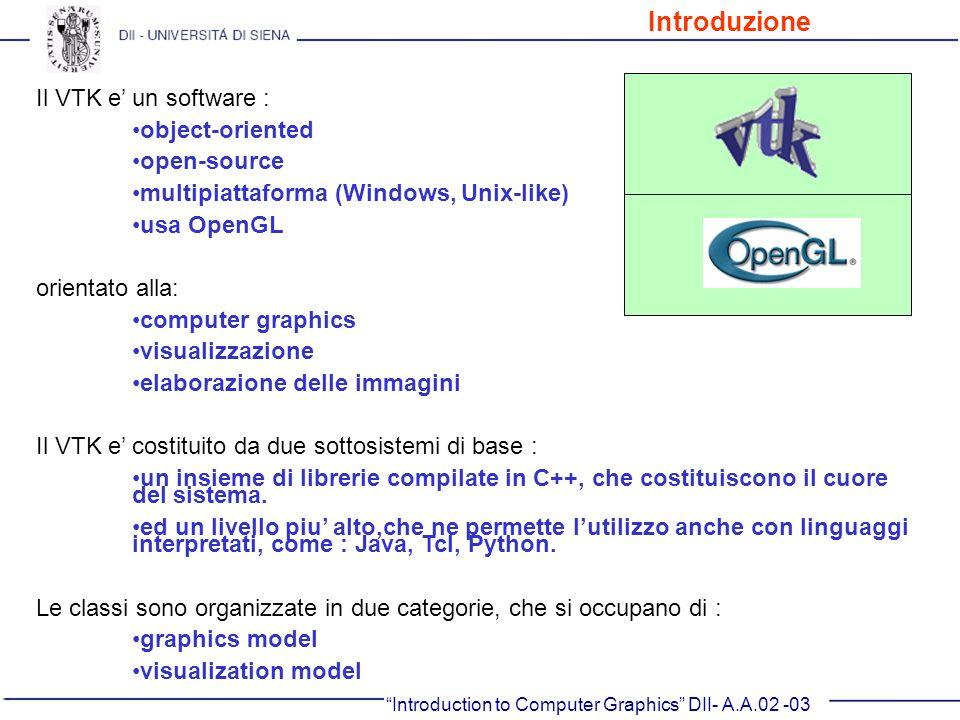 Introduction to Computer Graphics DII- A.A.02 -03 Il VTK e un software : object-oriented open-source multipiattaforma (Windows, Unix-like) usa OpenGL
