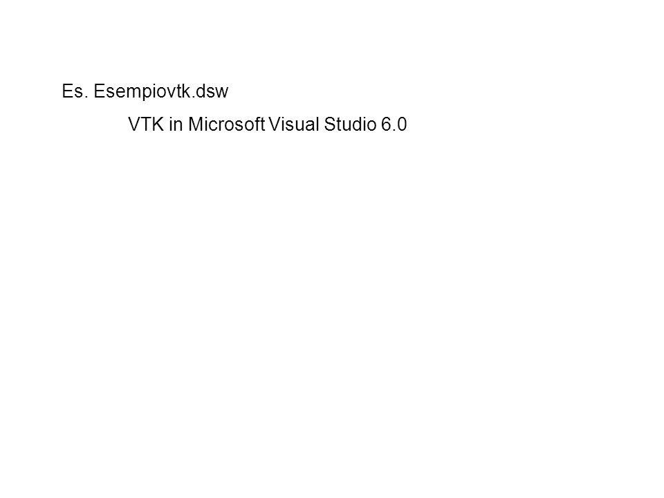 Es. Esempiovtk.dsw VTK in Microsoft Visual Studio 6.0