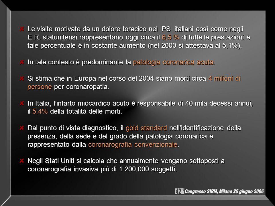 Le visite motivate da un dolore toracico nei PS italiani così come negli E.R. statunitensi rappresentano oggi circa il 6,5 % di tutte le prestazioni e
