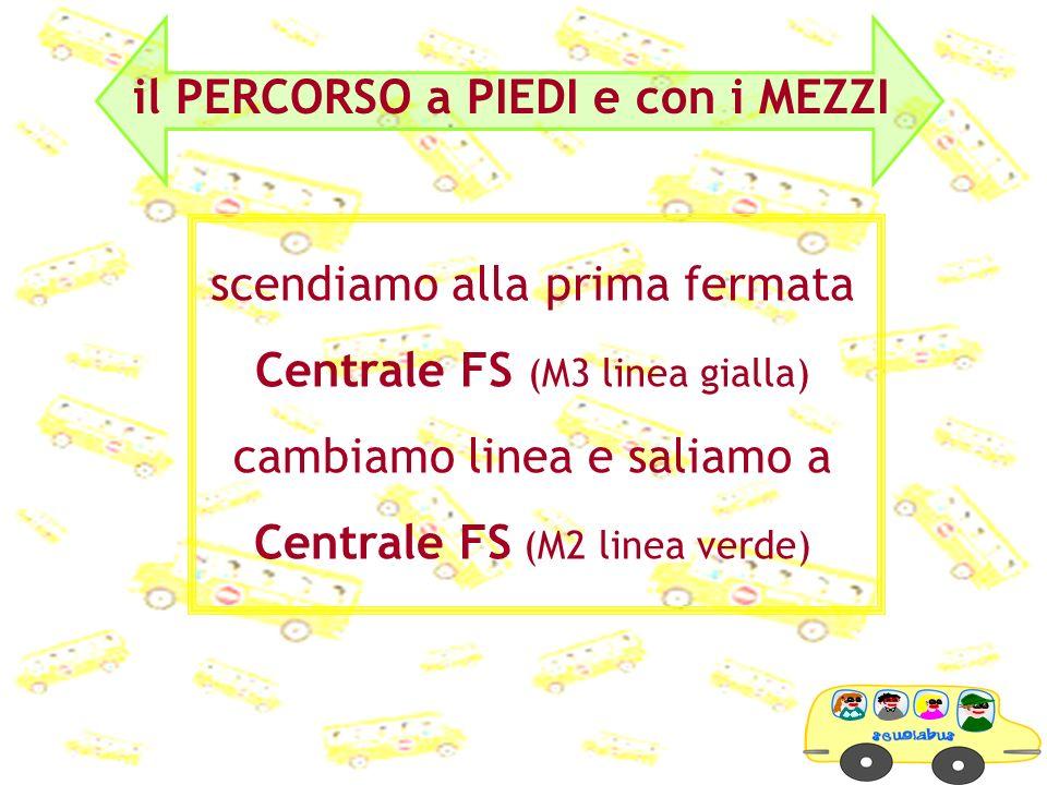 scendiamo alla prima fermata Centrale FS (M3 linea gialla) cambiamo linea e saliamo a Centrale FS (M2 linea verde)