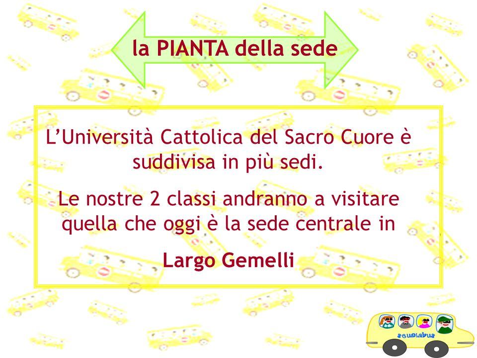 LUniversità Cattolica del Sacro Cuore è suddivisa in più sedi. Le nostre 2 classi andranno a visitare quella che oggi è la sede centrale in Largo Geme