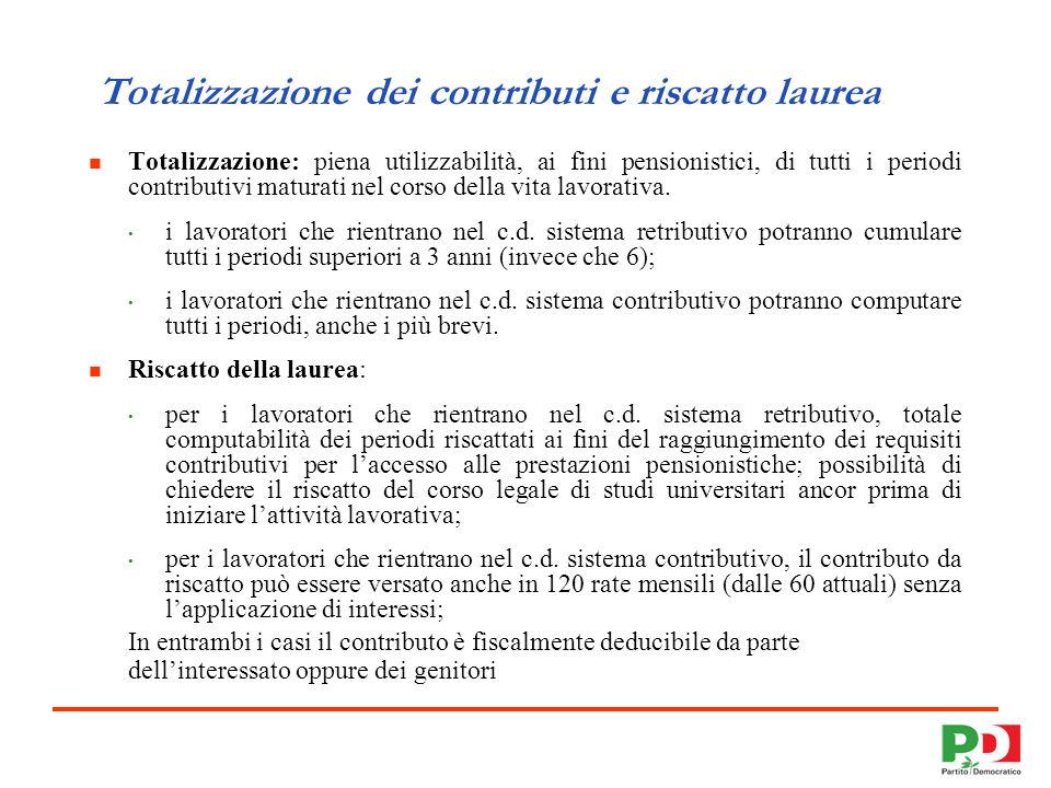 7 Totalizzazione dei contributi e riscatto laurea Totalizzazione: piena utilizzabilità, ai fini pensionistici, di tutti i periodi contributivi maturati nel corso della vita lavorativa.