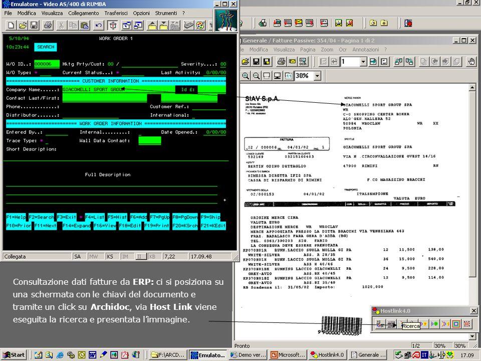 Consultazione dati fatture da ERP: ci si posiziona su una schermata con le chiavi del documento e tramite un click su Archidoc, via Host Link viene es