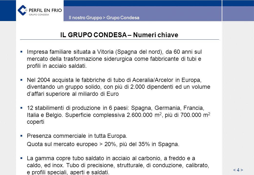 IL GRUPO CONDESA – Numeri chiave Impresa familiare situata a Vitoria (Spagna del nord), da 60 anni sul mercato della trasformazione siderurgica come f