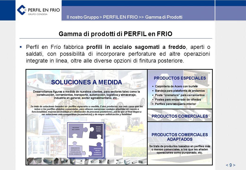 Gamma di prodotti di PERFIL en FRIO Perfil en Frío fabbrica profili in acciaio sagomati a freddo, aperti o saldati, con possibilità di incorporare perforature ed altre operazioni integrate in linea, oltre alle diverse opzioni di finitura posteriore.