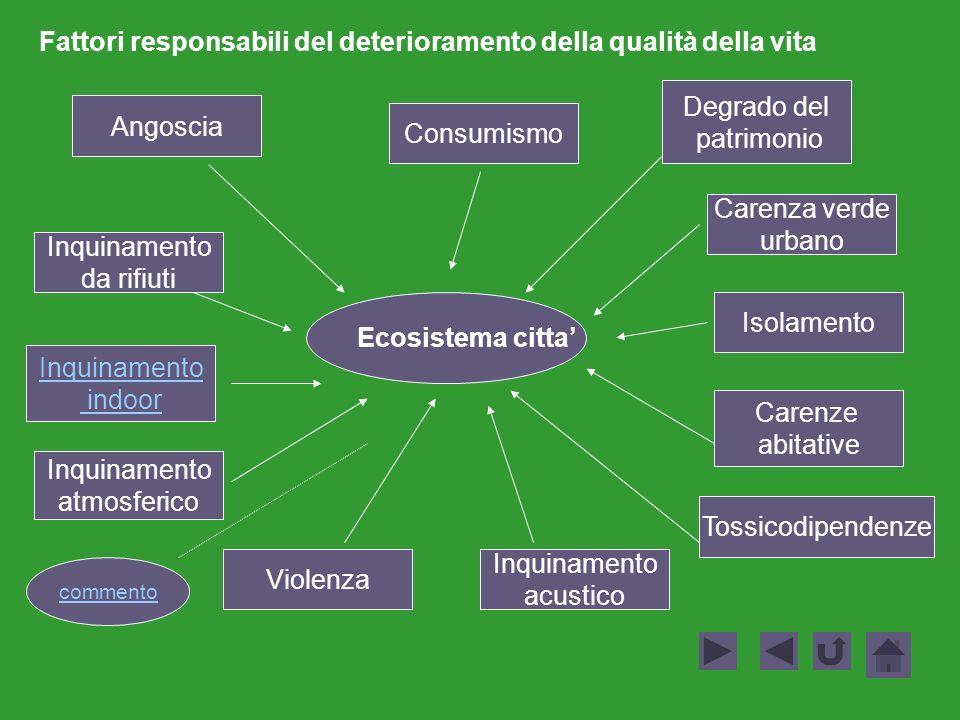 Ecosistema citta Angoscia Consumismo Inquinamento indoor Tossicodipendenze Inquinamento acustico Carenza verde urbano Degrado del patrimonio Inquiname