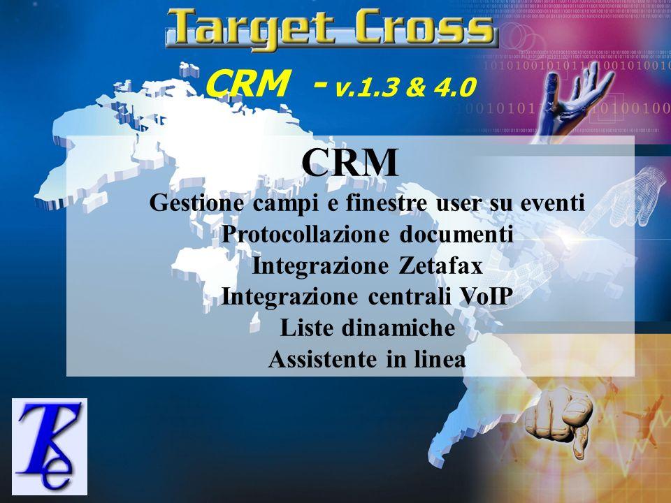 CRM - v.1.3 & 4.0 CRM Gestione campi e finestre user su eventi Protocollazione documenti Integrazione Zetafax Integrazione centrali VoIP Liste dinamic