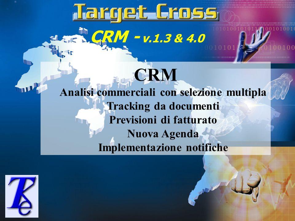 CRM - v.1.3 & 4.0 CRM Analisi commerciali con selezione multipla Tracking da documenti Previsioni di fatturato Nuova Agenda Implementazione notifiche