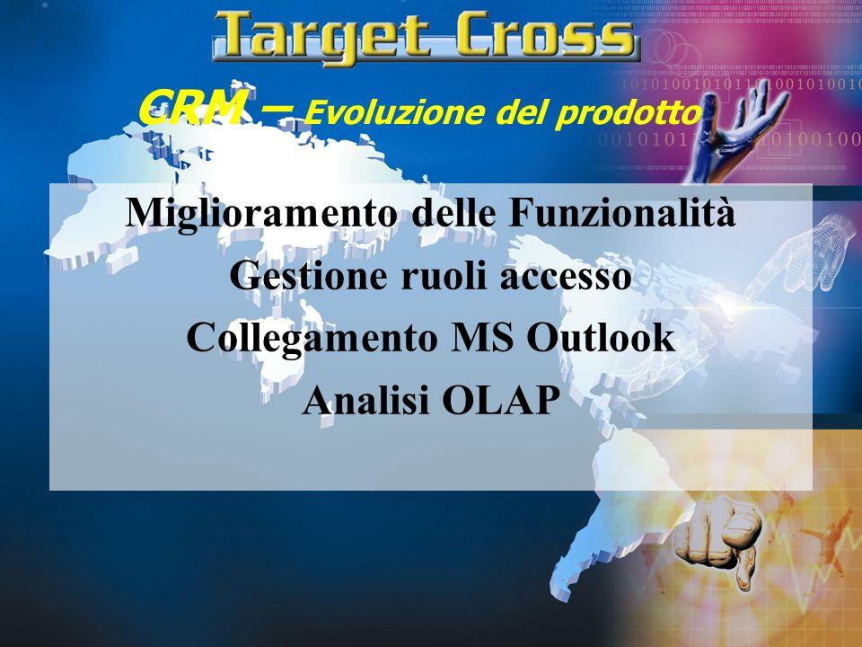 CRM – Evoluzione del prodotto Miglioramento delle Funzionalità Gestione ruoli accesso Collegamento MS Outlook Analisi OLAP
