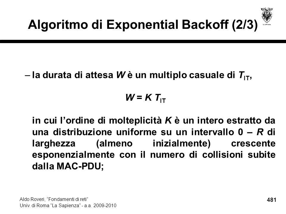 481 Aldo Roveri, Fondamenti di reti Univ. di Roma La Sapienza - a.a.