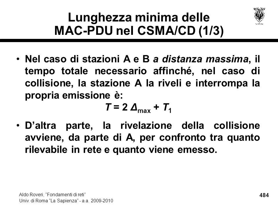 484 Aldo Roveri, Fondamenti di reti Univ. di Roma La Sapienza - a.a.