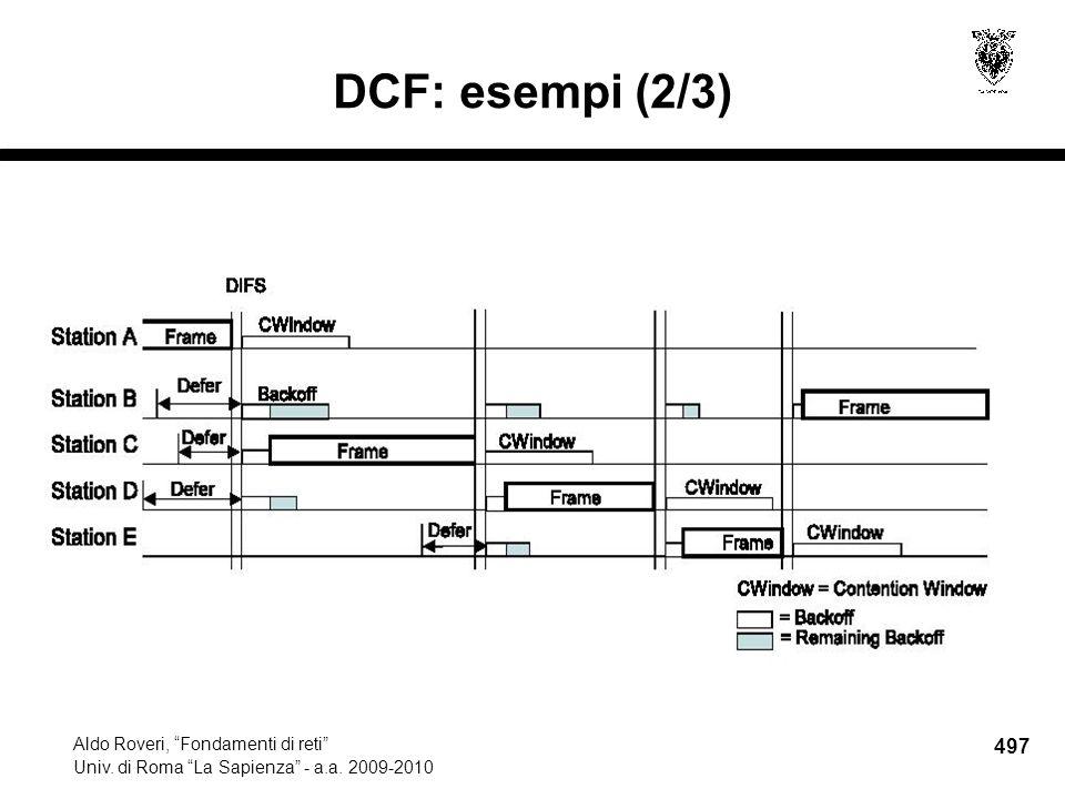 497 Aldo Roveri, Fondamenti di reti Univ. di Roma La Sapienza - a.a. 2009-2010 DCF: esempi (2/3)