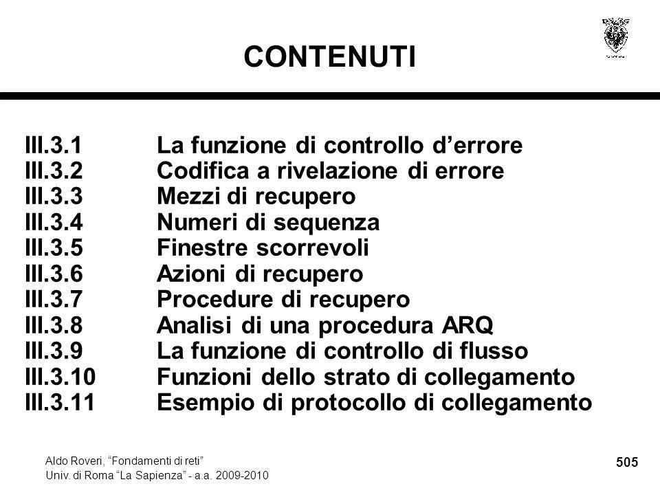 505 Aldo Roveri, Fondamenti di reti Univ. di Roma La Sapienza - a.a.