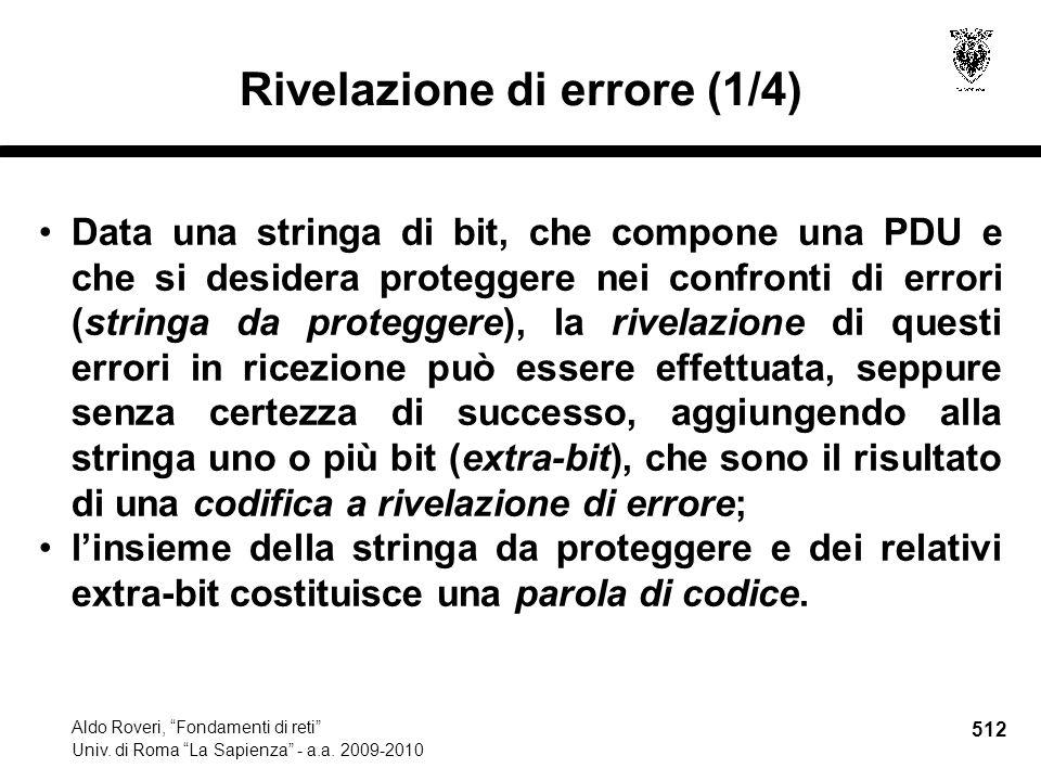 512 Aldo Roveri, Fondamenti di reti Univ. di Roma La Sapienza - a.a.