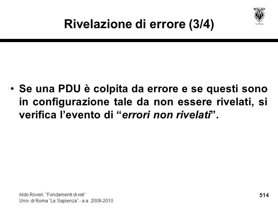 514 Aldo Roveri, Fondamenti di reti Univ. di Roma La Sapienza - a.a.