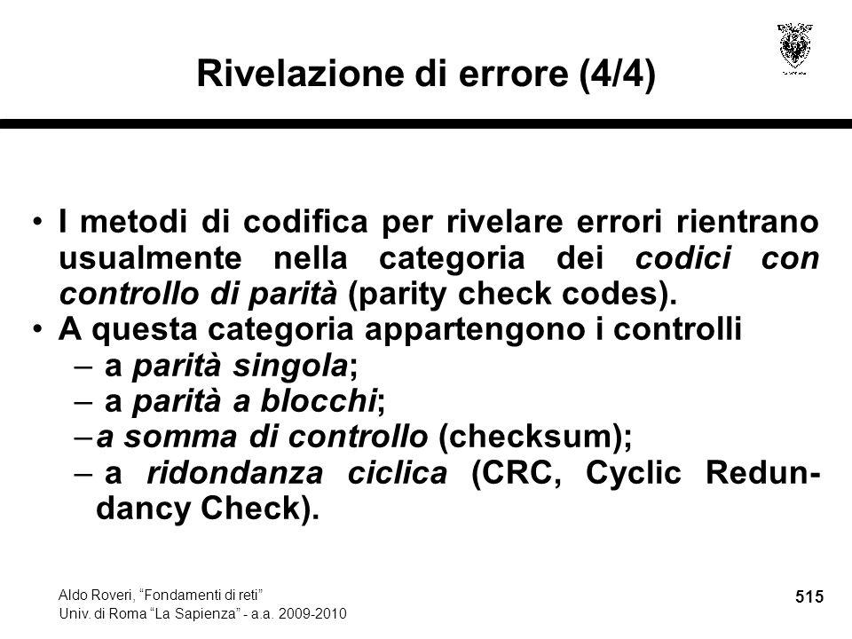 515 Aldo Roveri, Fondamenti di reti Univ. di Roma La Sapienza - a.a.